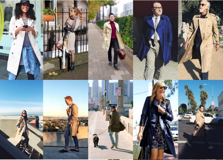 Fotos de pessoas usando casacos Burberry na rede social da marca Art of Trench