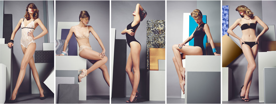 cinco modelos usando lingeries