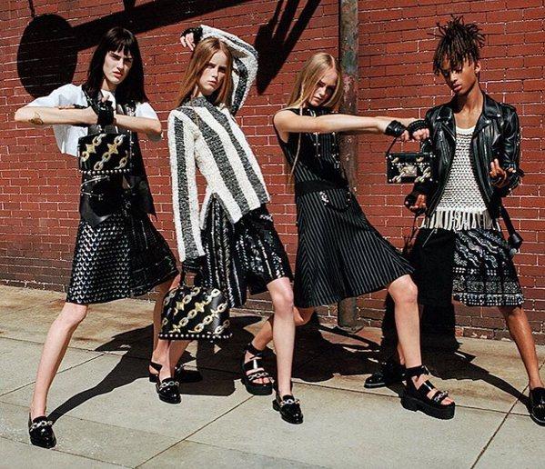 Jaden Smith usando saia na campanha da Louis Vuitton